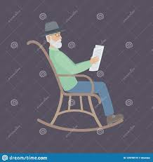 Old Man Sitting On A Chair Stock Vector. Illustration Of ...