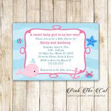 Whale Girl Baby Shower Invitation Personalized Printable Pink The Cat