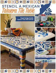 stencil a mexican talavera tile table paint pattern