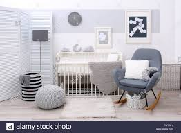 Baby Bedroom Design With White Crib And Rocking Chair Stock ... White Glider Rocker Wide Rocking Chair Hoop And Ottoman Base Vintage Wooden Baby Craddle Crib Rocking Horse Learn How To Build A Chair Your Projectsobn Recliner Depot Gliders Chords Cu Small For Pink Electric Baby Crib Cradle Auto Us 17353 33 Offmulfunctional Newborn Electric Cradle Swing Music Shakerin Bouncjumpers Swings From Dolls House Fine Miniature Nursery Fniture Mahogany Cot Pagadget White Rocking Doll Crib And Small Blue Chair Tommys Uk Micuna Nursing And Cribs