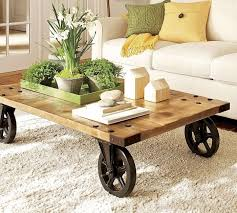 Coffee Table Rustic On Wheels Small Fantastic