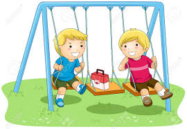 Boys On Swing In The Park Stock Photo