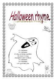 Poems About Halloween That Rhymes by Worksheet Halloween Rhyme