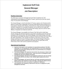 General Manager Job Description For Golf Course Free PDF Template