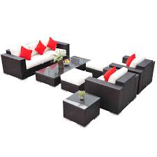Outsunny 7 Piece PE Rattan Sofa and Chair Patio Furniture Set