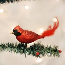 Old World Christmas Red Cardinal Glass Bird Ornament Putti Fine