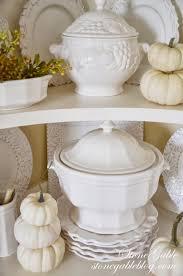 Pumpkin Soup Tureen Recipe by Fall Hutch White Pumpkins And Soup Tureens Stonegable