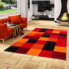 designer teppich brilliant rot orange karo