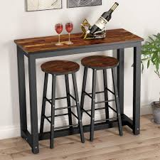 3-Piece Pub Table Set, Counter Height Dining Table Set With 2 Bar Stools  For Kitchen, Breakfast Nook, Dining Room, Living Room Ding Room Bar Table Sets Lowes Stools Counter Heightfniture Height Elegant High Top Patio Set 5 Fniture Image Stool Round Tables Tall Kitchen Chairs 11qooospiderwebco Coaster Oakley 5piece Solid Wood Amazoncom Chel7blkc 7 Pc Height Setsquare Pub Table With Bench Craftycarperco New With Sturdy Max