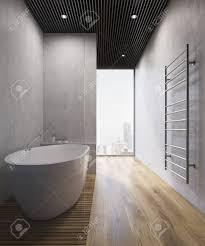 badezimmer interieur mit holzboden betonwänden einem großen handtuchhalter an der wand und einem panoramafenster weiße badewanne 3d rendering