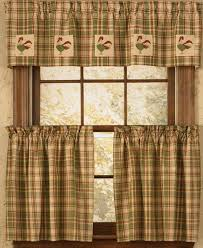 country kitchen curtains with wooden window frame and rustic