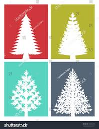 Type Of Christmas Trees by New Years Greeting Card Flat Design Stock Vector 335036375
