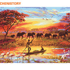 CHENISTORY Elephant Sunset Diy Painting By Numbers Landscape Modern Wall Art Canvas Hand Painted Unique