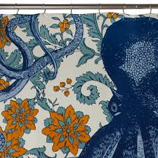Vineyard Blue Octopus Shower Curtain