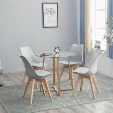 ipotius esstisch runde esstisch mit 4 stühlen grau esstisch 80x80x74 5cm für 2 4 personen