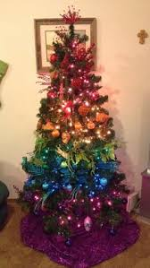 Ombre Christmas Tree Red Orange Yellow Green Blue Rainbow Painting