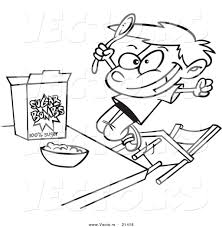 Vector Of A Cartoon Boy Eating Sugary Cereal