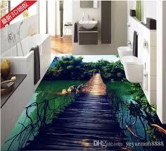 Custom 3d Stereoscopic Living Room Wallpaper Floor Tiles Wooden Bridge Bamboo Sky Vinyl Flooring Mural For Bedroom Screen