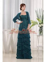Beading Column Strapless Chiffon Floor Length Teal Mother Of The Bride Dress