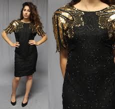 80s black beaded gold sequin mini dress medium cocktail party ebay