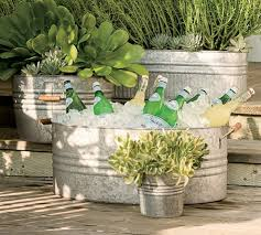 Galvanized plant containers