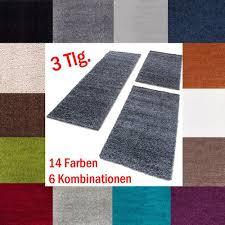 shaggy hochflor teppich carpet 3tlg bettumrandung läufer set schlafzimmer flur