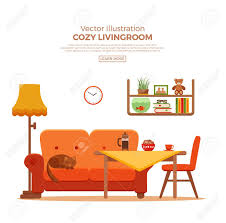 wohnzimmer gemütlich bunte comic interieur vector flach illustration mit elementen stuhl sofa katze le uhr tisch katze kaffee bücher