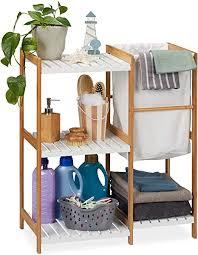 relaxdays badregal mit wäschekorb offen stehend badezimmer regal aus bambus mdf hbt 76 x 65 5 x 33 cm natur weiß