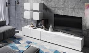 moderne wohnzimmer möbelset alfa mit 4 hängeschränken und 2 tv lowboards in der farbe nach wahl