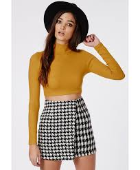 missguided dharma ribbed turtle neck long sleeve crop top mustard