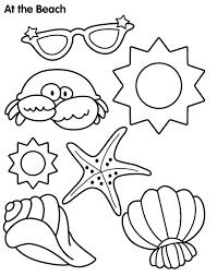 Beach Items Colouring Pages