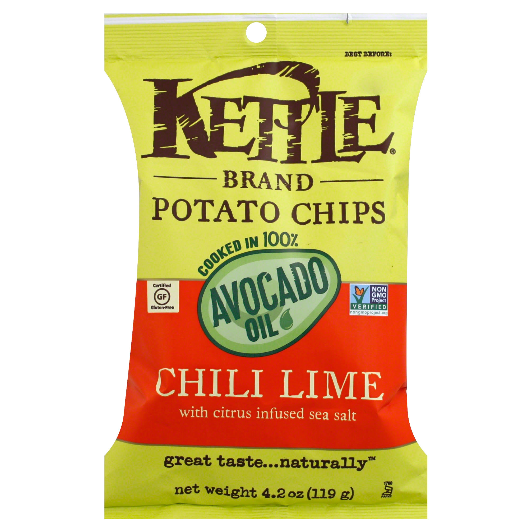 Kettle Foods Avocado Oil Potato Chips - Chili Lime, 4.2oz