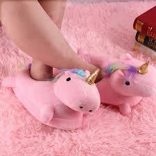 Fashion Pink Unicorn Shape Decorated ShoesSlippers