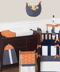 navy blue and bright orange arrow gender neutral baby crib bedding set
