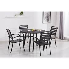 100 Modern Metal Chair Contemporary Black 5Piece Round Outdoor Dining Set With Slatted Faux Wood And Stackable S