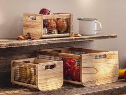 3er set holz kiste trend mit metall obst korb box aufbewahrung küche deko