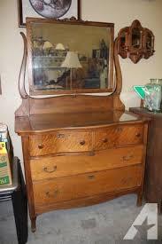antique tiger oak serpentine dresser with mirror for sale in