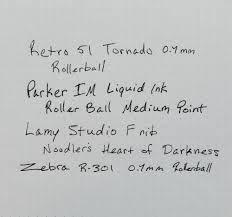 Parker IM Roller Ball Samples