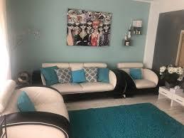 wohnzimmer set sofa und 2 sessel echtleder beige schwarz