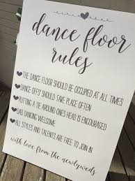 Vintage Rustic Shabby Chic A3 Dance Floor Rules Sign For Weddings