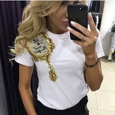 2017 Brand New Summer Tops Fashion Clothes For Women Shoulder Sequin Mirror Harajuku Kawaii T Shirt Womens Shirts Camisas