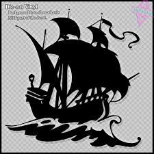 100 Design A Pirate Ship Silhouette Vinyl Rt Sticker
