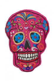 Easy Sugar Skull Day Of by Skull Day Of The Dead Pillow Wine Red