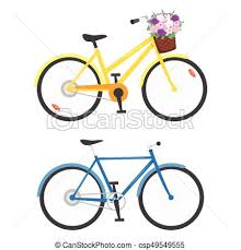 Vector Cartoon Style Illustration Of Two Bicycles Isolated On White Background