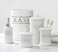 Mercury Glass Bathroom Accessories by Bathroom Canisters U0026 Accessories Pottery Barn
