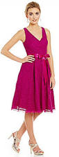 adrianna papell v neck lace midi dress 2466566 weddbook