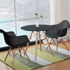 esstisch runde mit 2 stühle schwarz tisch stühle essgruppe für esszimmer küche büro lounge 70x70x75cm