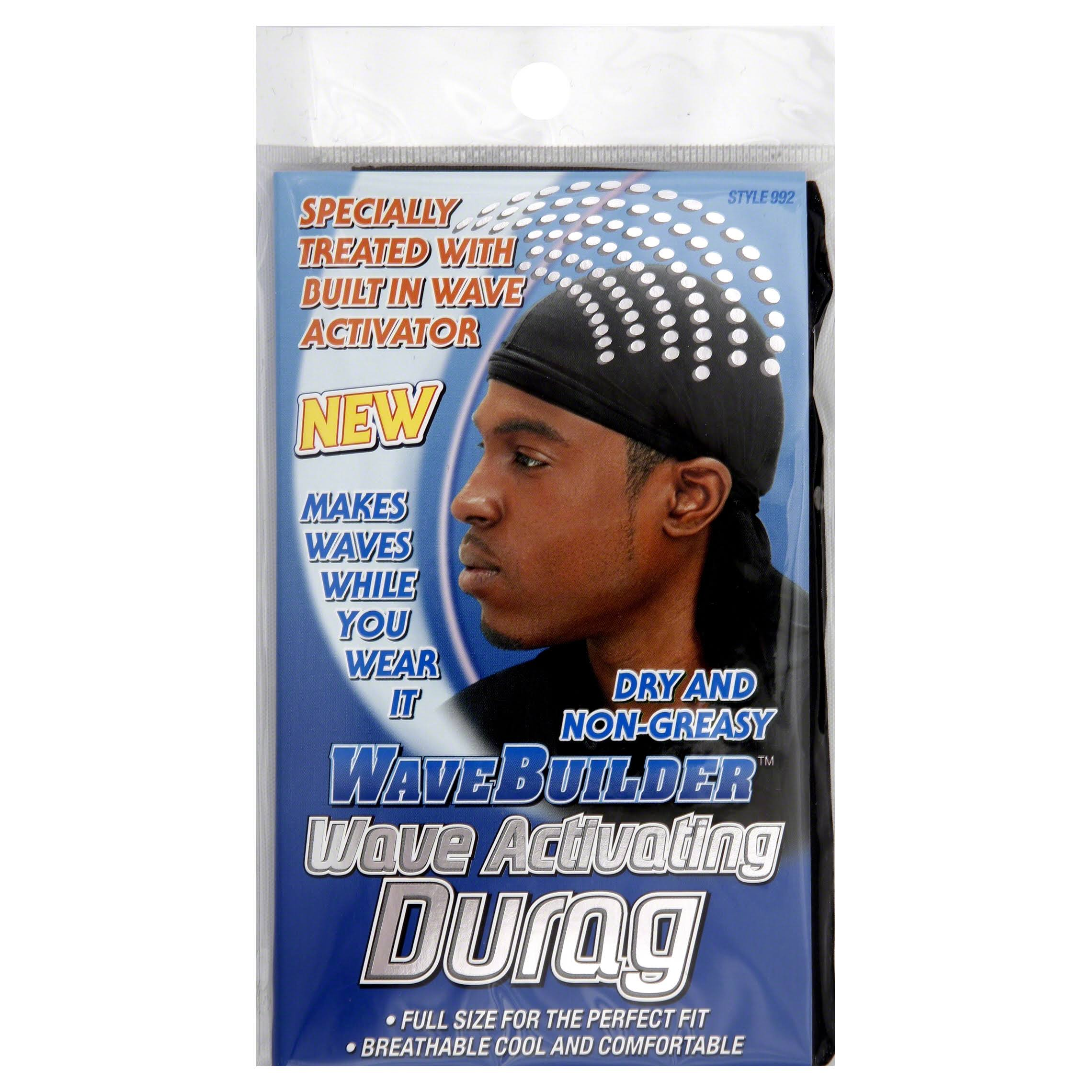 WaveBuilder Premium Hair Wave Activating Durag - Black