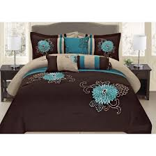 7 Pc Brown Teal and Taupe Floral Striped Design Cal King Size