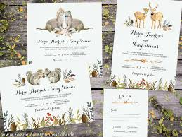 Animal Wedding Invitations Woodland Invites Deer Otter Squirrel